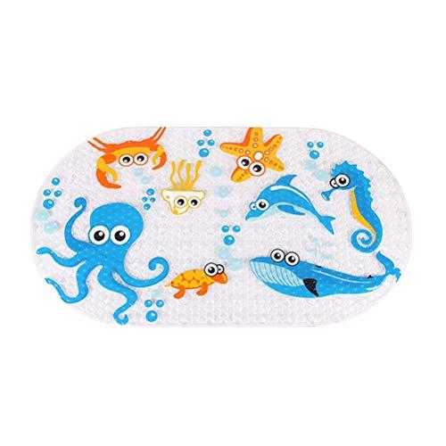 YeahiBaby Tapis de Bain Mignons Animaux de Dessin animé bébé Enfants PVC Tapis antidérapant Preuve de dérapage Anti Tapis de Baignoire moisissure bactérienne (Poissons de mer Profonde)