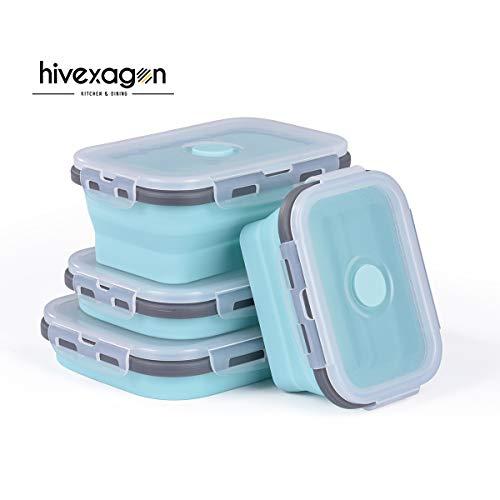 Hivexagon Zusammenklappbare Lebensmittel-Lagerbehälter Lunchbox aus Silikon,Nahrungsmittel Behälter 4 Satz Mittagessen Bento Kasten BPA Frei zum Campen Outdoor und Wandern CP012