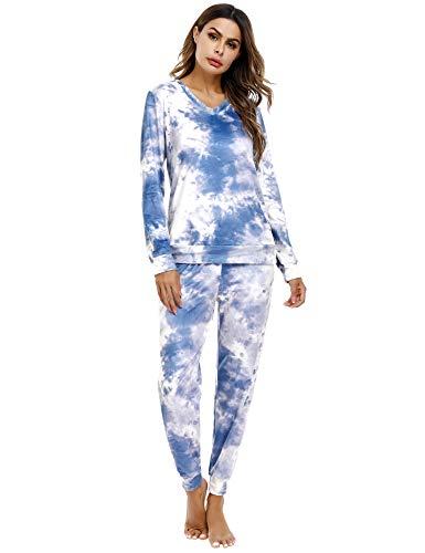 Irevial Damen Velours Hausanzug Nicki Schlafanzug Lang Winter Weicher Pyjama Anzug Set Zweiteiliger Flanell Trainingsanzug Oberteil und Hose mit Taschen Z-dunkelblau S