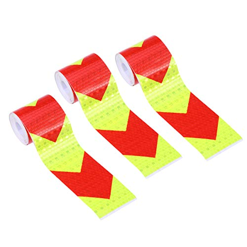 LIOOBO reflektierende Pfeilaufkleber, Warnstreifen, Fluoreszierende Aufkleber für Auto, Fahrzeuge, BAU, Sicherheit, 3 Stück