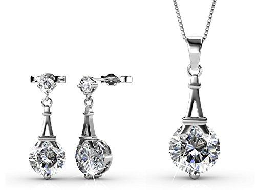 Yolora sieraden set met Swarovski kristal - Ketting met hanger en bijpassende oorbellen - Oorhangers - Geschenkset dames - Zilverkleurig - YO-005