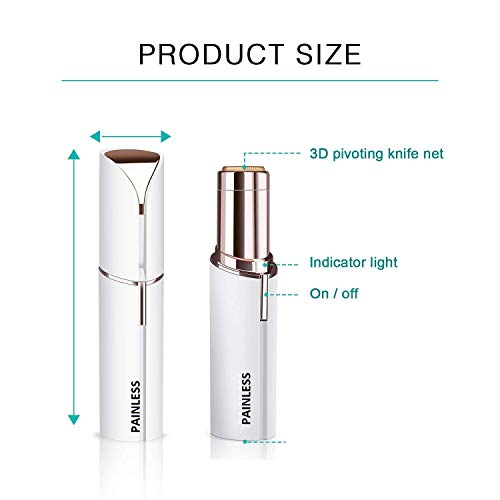 Painless Lipstick Shape Flawless Electronic Facial Hair Remover Shaver(White And Gold)