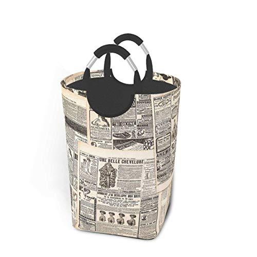 Fondo de periódico francés vintage Cesto de lavandería Cesto de lavandería plegable Gran portátil Bolsas de almacenamiento de ropa sucia Organizador de juguetes para el hogar para niños Baño Armario d