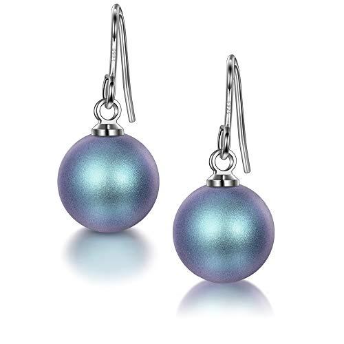 Ohrringe silber 925, Perlen Ohrringe Damen, mit Blau Perlen von SWAROVSKI, Schmuck Damen