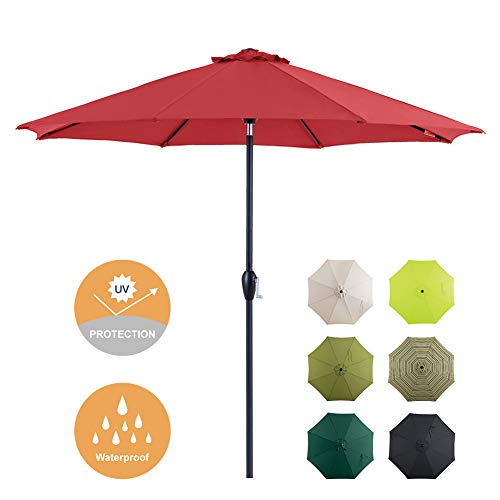 Tempera Patio Umbrella 9 Ft Outdoor Garden Table Umbrella with Push Button Tilt and Crank 8 Ribs, Red