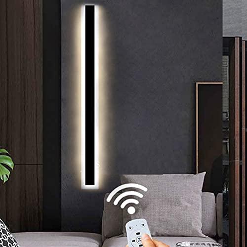 VOMI LED Apliques Pared Intemperie Regulable con Mando a Distancia Impermeable IP65 Exteriores Jardín Decorativas Luz Exterior Lámpara Pared Negro Acrílico Luces para Interior Entrada Balcones,120cm