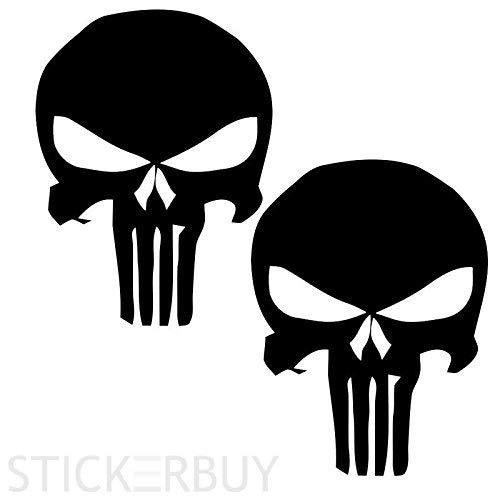 stickerbuyTM Punisher Style Jeep Stickers Exterior Wrangler Fender Decals. Black (pack2)