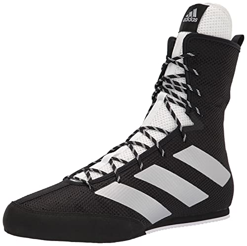 adidas Men's Hog 3 Boxing Shoe, Black/Silver Metallic/White, 12