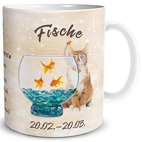 TRIOSK Tasse Katze lustig mit Spruch Sternzeichen Fische Katzenmotiv Horoskop Geschenk für Katzenliebhaber Geburtstag Frauen Freundin
