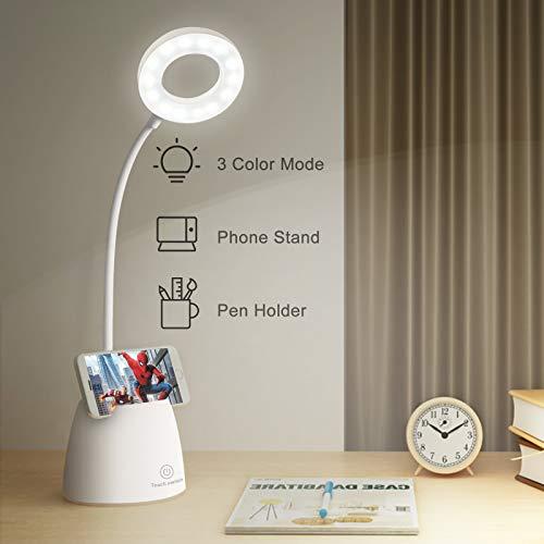 mixigoo LED Schreibtischlampe Kinder USB Wiederaufladbar Leselampe Buch mit Touch Control 3 Helligkeitsstufen und Stufenloses Dimmen Augenfreundliche Tischlampe für Arbeiten, Studieren