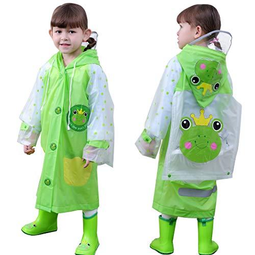 Kinder Regenmantel, Regenjacke im niedlichen Cartoon-Tier-Stil, Regenmantel für Jungen, Mädchen, Radfahren, Camping, Trekking