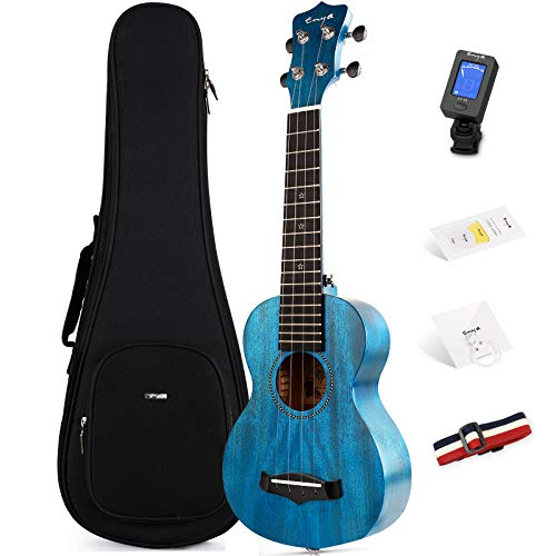 Soprano Ukulele Enya 21' Blue Solid Mahogany Top Ukulele Beginner Kit with Online Lesson, Case,...