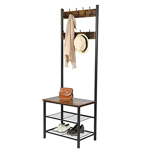 Yusong Industrial Coat Rack Shoe Bench,Entryway Hall Trees Storage Shelf with 2 Mesh Shelves,3 in 1 Design,Easy Assembly, Rustic Brown