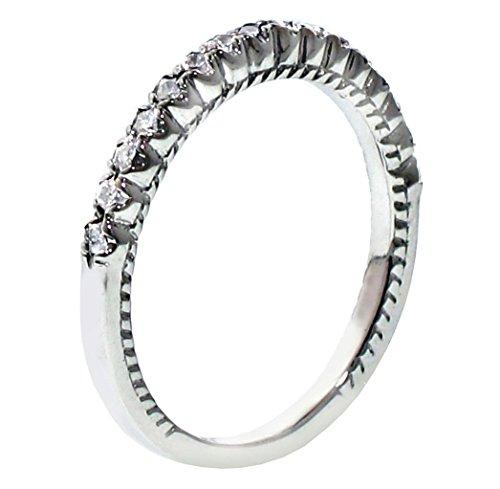 VIP Jewelry Art 0.25 CT TW Round Diamond Wedding Band in 18k White Gold - Size 3.5 (0.25 Ct Art)