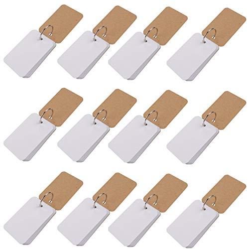 Flash-kaarten met bindringen (12 Pack) - 600 Studiekaarten, 50 witte blanco vellen in elke bundel (110 GSM), mini-indexkaarten voor thuis, school, kantoor, 8,9 x 5,6 cm (0,7 cm dikte)