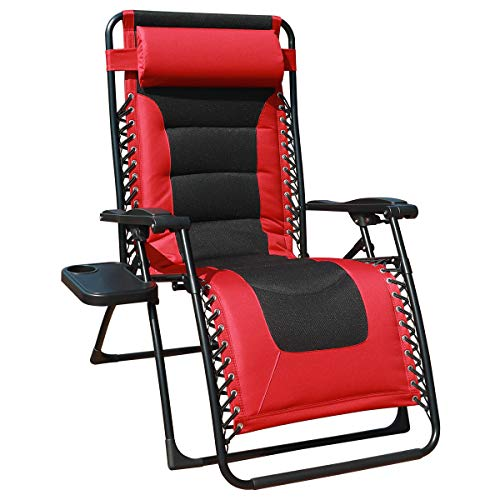 GOLDSUN Oversized Padded Zero Gravity Recliner Chair Adjustable Patio Lounge Chair with Cup Holder for Outdoor Beach Porch,Deck and Swimming Pool (Red)
