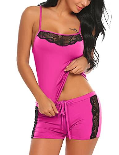 Avidlove Novelty Pajamas Set Lace Cami Sleeveless Sleepwear Soft Set with Shorts Nightwear for Women, Cherry Red, S(One Size Up)