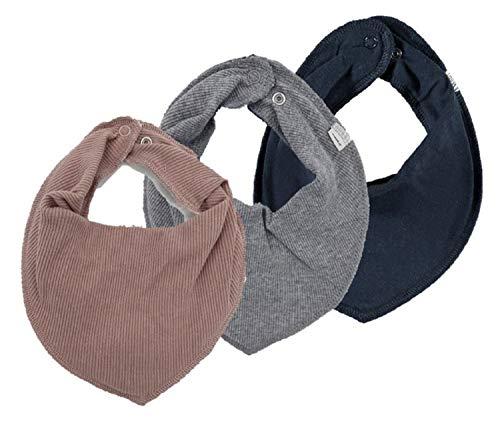 NAME IT 3er Set UNI ~ verschiedene ~ Baby Dreieckstücher Halstuch Lätzchen 3 Stück (altrosa- grau - dunkelblau)