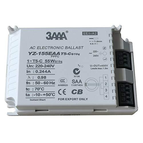 Balastro electrónico 220-240 V 3AAA YZ-155EAA con encendido instantáneo lámpara fluorescente balastro electrónico para lámparas 1XTC-5 55 W G10q CCC CB SAA