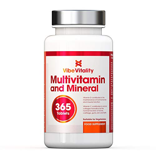Multivitamins & Minerals 365 Tablets (Up to 1 Year Supply) Complex blend of Multivitamins with Iron and Minerals for Men and Women Suitable for Vegetarians. Made in the UK