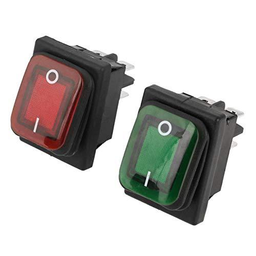 Interruptor basculante - 4 piezas/juego Negro Impermeable 4 pines 2 posiciones ON-OFF Rojo Verde Interruptor basculante de lámpara