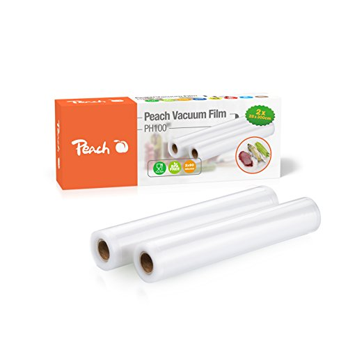 Peach PH100 Vakuumierfolie | 2 Rollen | 28x300cm | 2x90 mic | 7-lagig | geeignet für den Tiefkühler, kochendes Wasser | Sous Vide Garen