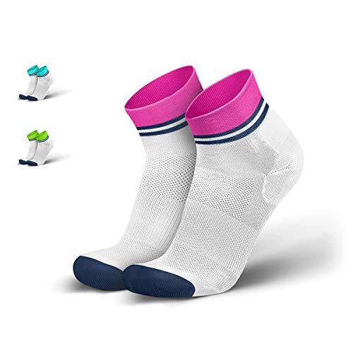 INCYLENCE Stripes Sportsocken kurz, leichte Laufsocken, atmungsaktive Funktionssocken mit Anti-Blasen Schutz, Running Ankle Socks, weiß, pink, blau, 39-42