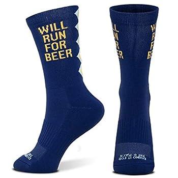 Inspirational Athletic Running Socks | Mid-Calf | Run for Beer | Dark Blue