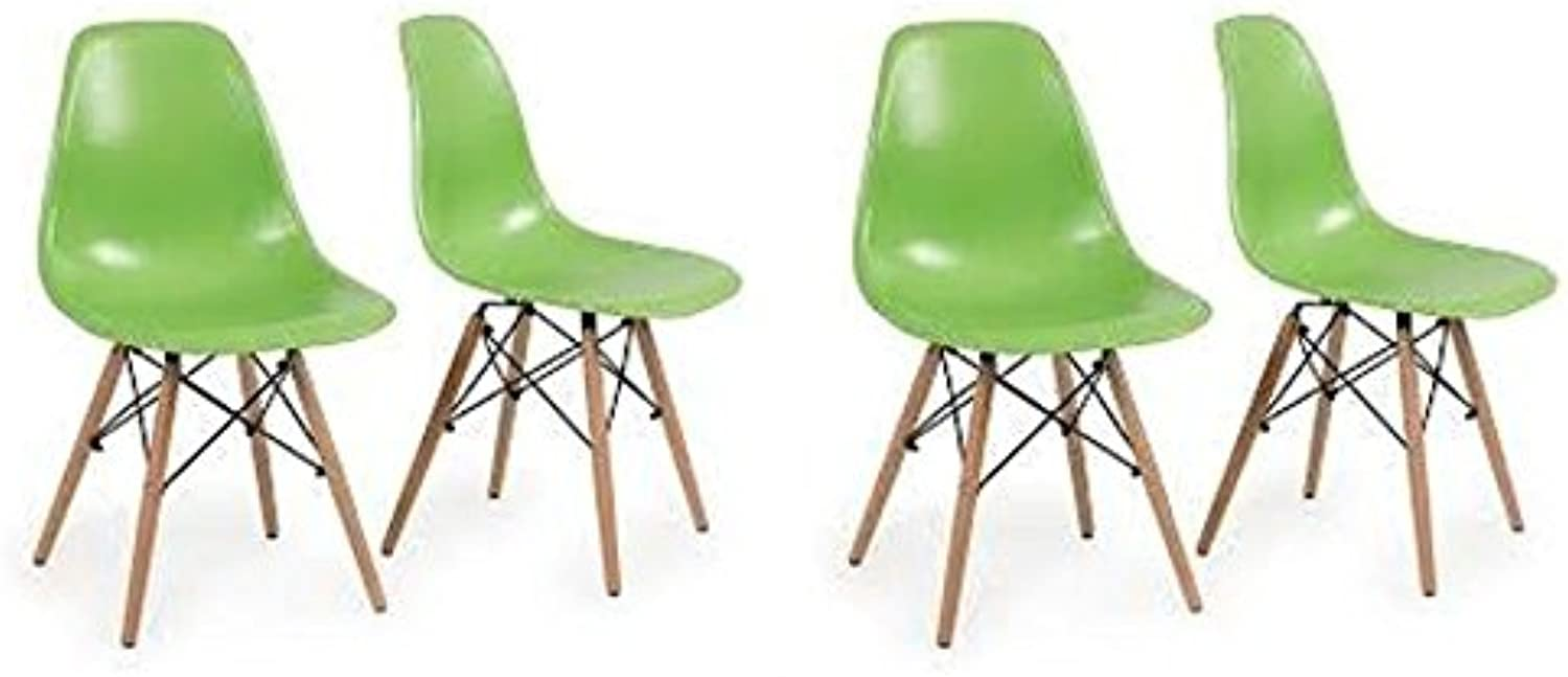 Meubles House Set of Four (4) GreenEames Style Side Chair Natural Wood Legs Kids Chair