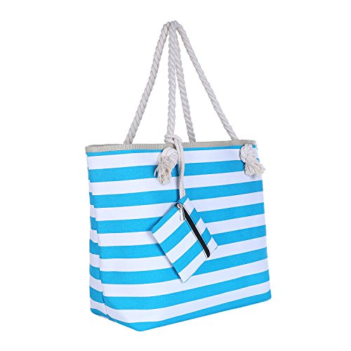 Bolsa de Playa Grande con Cremallera 58 x 38 x 18 cm Rayas marítimas Turquesa Blanco Shopper Bolsa de Hombro Bolsa de Playa (Beach Bag)