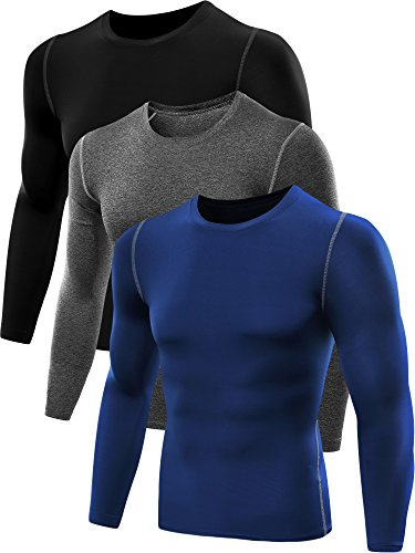 Neleus Men's 3 Pack Athletic Compression Sport Running T Shirt Long Sleeve Base Layer,Black,Grey,Blue,US L,EU XL