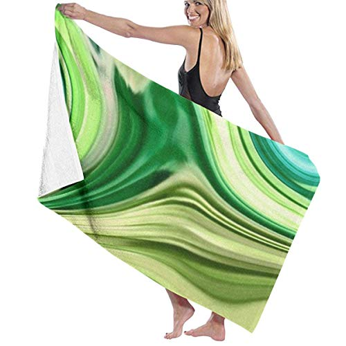WKLNM Beach Towel Bath Towel Pool Towel, Lightweight Swim Towel with Modern Trendy Abstract Turquoise Lime Green Swirls for Kids & Adults (32x52in)