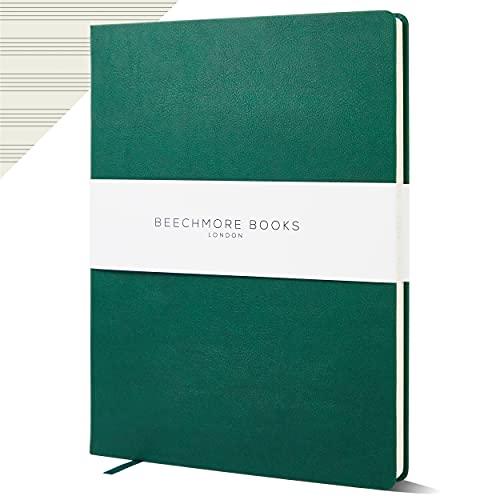 Cuaderno de papel personalizado con manuscrito – Premium A4 10 personal de Beechmore Books   Tapa dura de piel vegana de 120 g/m², papel crema, 21 x 29,7 cm (verde diartmouse)