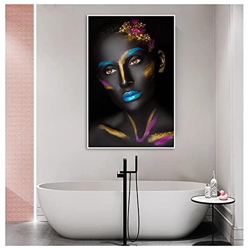 Maquillaje Mujer negra Pinturas al óleo sobre lienzo Cuadros África Arte de la pared Carteles e impresiones Imágenes de pared de niña para la decoración de la sala de estar 40x60cm (15.7x23.6in)