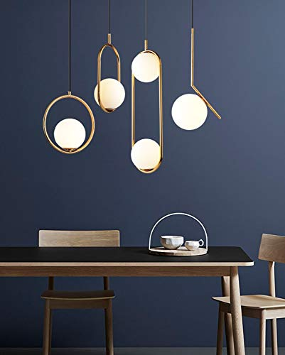 Nordic Lampada a sospensione/Lampadario in ferro leggero Lampadario a sfera in vetro moderno Creativo per camera da letto/soggiorno/ristorante/bar, doppia luce-oro