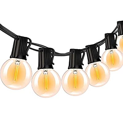 G40 Outdoor Patio String Lights, 100Ft Waterproof Globe Lights String with 50 Clear LED Bulbs(2 Spare), UL Listed Backyard Lights for Indoor/Outdoor Commercial Decor, E12 Base