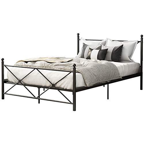 Joycelzen - Cama de metal de 140 x 200,4 m, cama doble con base de metal, cabecero y plataforma para el hogar, hotel, escuela, color negro