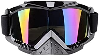 Adult Motorcycle Goggles, Dirt Bike Goggles Grip For Helmet, Anti UV Windproof Dustproof Anti Fog Glasses for ATV Off Road Racing Safety Headwear Screen Filter - Multi-colored