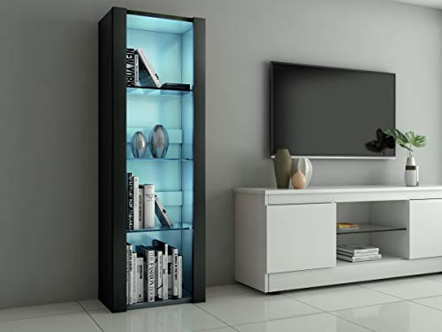 Panana LED Tall Display Cabinet with Glass Shelf Modern Sideboard Cupboard Unit for Living Room Bedroom Furniture (Black Matt Body & Black High Gloss Fronts)