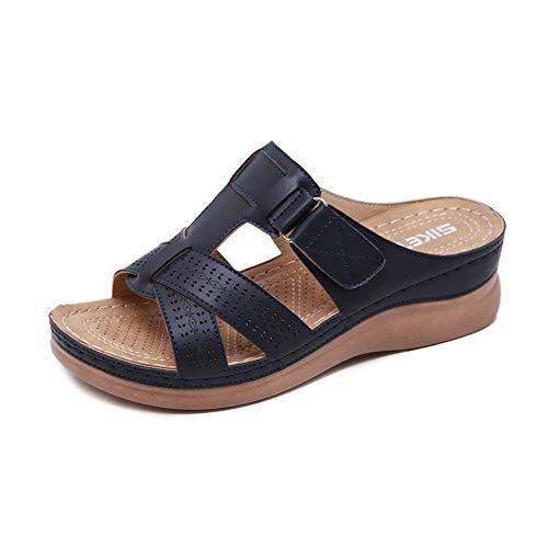 Meeshine Women's Summer Beach Flat Sandals Bohemia Flip Flops Platform Slide Comfort Walking Shoes Blue-Black US 9