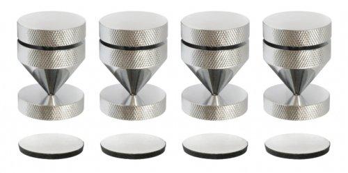 Dynavox Sub-Watt-Absorber 4er Set, höhenverstellbare Entkoppler für HiFi-Geräte und Lautsprecher mit Unterlegscheiben, Chrom