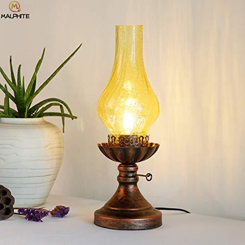 KIODS Nachttischlampe Retro Petroleum Tischlampe Vintage Schlafzimmer Nachttischlampe Lichtleiste Eisen Küchenarmaturen Crack Glas Leuchten