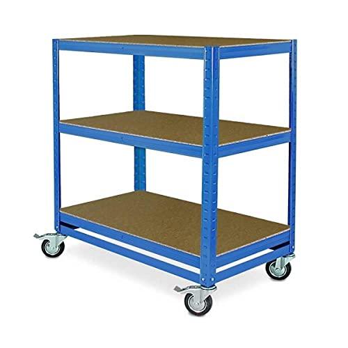 Kommissionierwagen/Etagenwagen mit 3 Ebenen, BxTxH 900x500x900 mm, blau, Tragkraft 200 kg