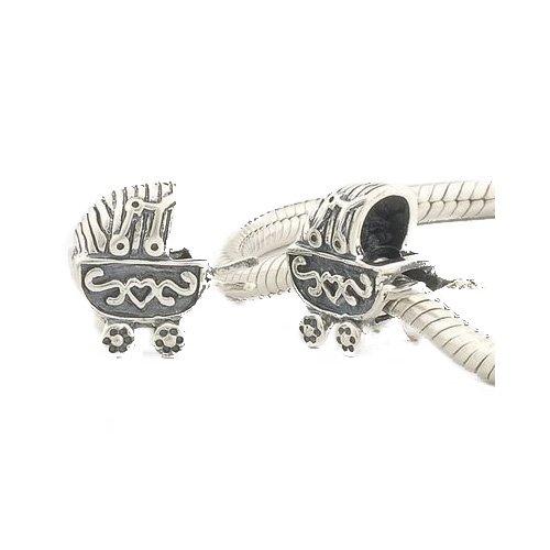 Andante-Stones - Original, Cuenta de Plata de Ley 925 sólida Coche de niño, Elemento Vintage, Elemento Bola para Cuentas European Beads + Saco de Organza