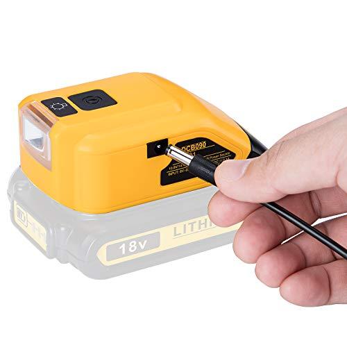 DCB090 Battery Adapter USB Power Source Converter Compatible with Dewalt 18V Lithium-ion Batteries 10.8V/14.4V/18V Max DCB180 DCB202 DCB203 with DC Port,LED Work Light,Dual USB Charger