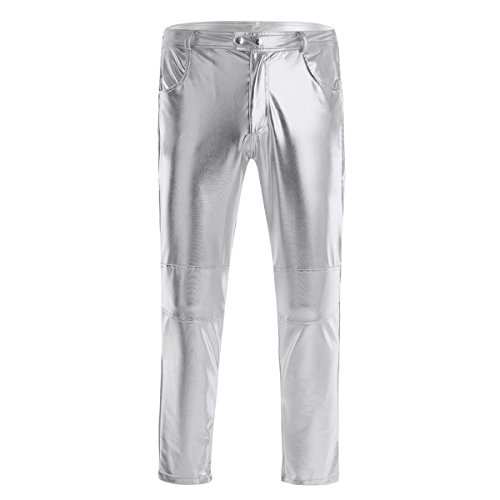 iiniim Herren Hosen Wetlook Männer Lederhose Glanz Hose Pants Leggings Tanz Clubwear Schwarz M-4XL Silber XXL