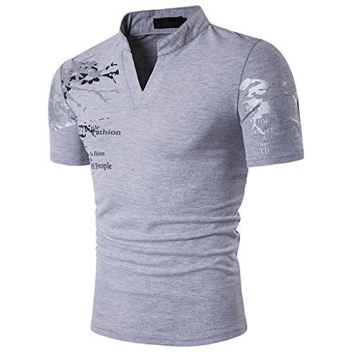 NPRADLA polo t-shirts för män t-shirts ungdom smal v-ringad kortärmad muskeltoppar sommar kontor blusar