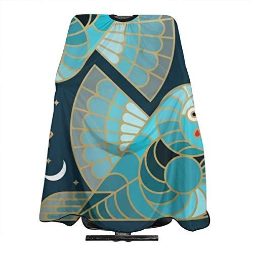 Beautiful Art Deco Midnight Bluebirds And Blossoms Tablier de coiffure professionnel pour homme et femme avec cape antistatique 140 x 168 cm