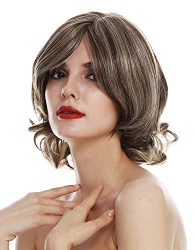 WIG ME UP - TYM-112-MT-CHOCO Peluca para mujeres monofilamento pelo corto ondulado castaño rubio teñido