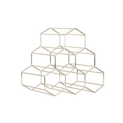 RENSLAT Estante de Vino geométrico Creativo de Metal nórdico Simple Estante de Vino de UVA para el hogar Restaurante Sala de Estar Bar Gabinete Pantalla